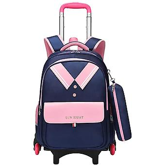 Kinderrucksäcke Schultaschen Trolley, 2020 Trolley Rucksack Grundschule Schulrucksäcke mit 6 Rädern