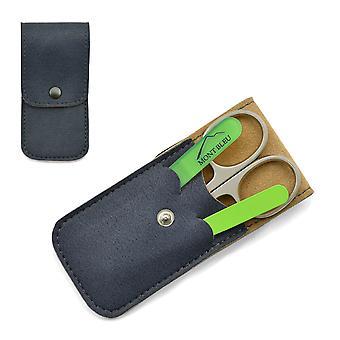 Mont Bleu Manucure 3 pièces Set in Soft Leatherette Case - Vert