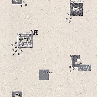 Rasch soprado papel de parede de café de vinil branco e prata