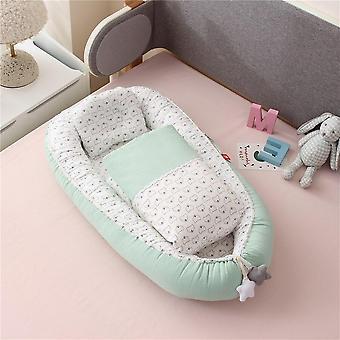 מיטת קן לתינוקות עם שמיכת טלאים, ערכת מיטת כותנה שזה עתה נולדה
