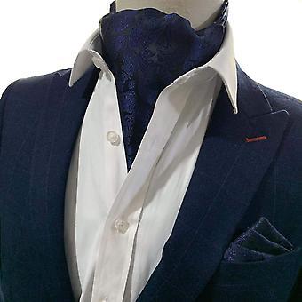 Laivastonsininen paisley cravat & pocket neliösetti
