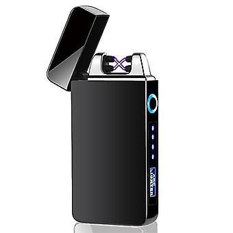 جديد 613-أسود أزياء مزدوجة قوس الإلكترونية أخف وزنا الذكية لمسة USB التعريفي القابلة لإعادة الشحن sm41891