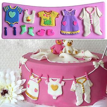 3d Baby Kläder Silikon Fondant MögelKaka Dekorera Choklad Bakform