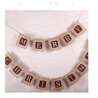 Merry Christmas Jute Burlap Banners,christmas Banner,christmas Decoration