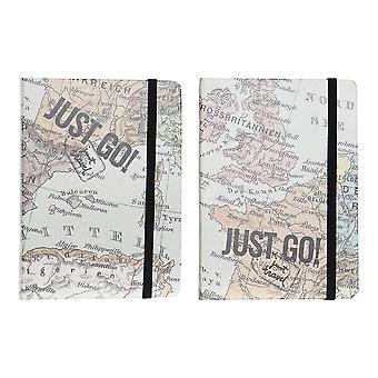 Notebook DKD Home Decor Just Go Blue Brown (2 pezzi) (10,5 x 1,5 x 14,5 cm)