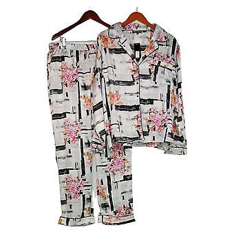 Coleção Tolani Pajama Feminina Conjunto Botão Tecida Impresso Branco A390127