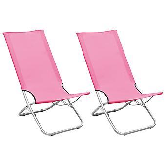 vidaXL Folding beach chairs 2 pcs. pink fabric