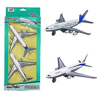 2 Stück Kindersimulation Zurückziehen Legierung Flugzeug Spielzeug Boeing 777 Verkehrsflugzeug Modellflugzeug