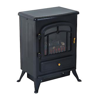 HOMCOM Freestanding Electric Fire Place Indoor Heater Glass View Log Wood Burning Effect Flame Portable Fireplace Stove 1800W MAX