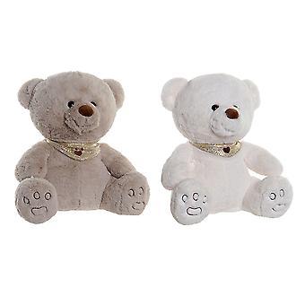 Jouet moelleux DKD Home Decor Blanc Beige Polyester Bear (2 pcs) (32 x 30 x 32 cm)