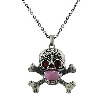 Solid Pewter Day of the Dead Skull Pendant w/ Faceted Pink Stone