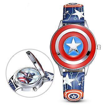 Captain America Dětské hodinky Chlapec Disney Flip Cover Elektronické křemenné hodinky (Barva-1)