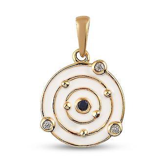 GP Spinell, weiß Zirkon Designer Anhänger vergoldet Silber Geschenk für ihre 0,13 ct