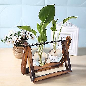Nordisk stil miljövänligt glas och trävasplanterare terrarium(B)
