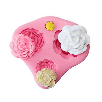 4 Size Roses Cake Decoration Mold 3d Silicone Fondant Mold Diy Baking Tools