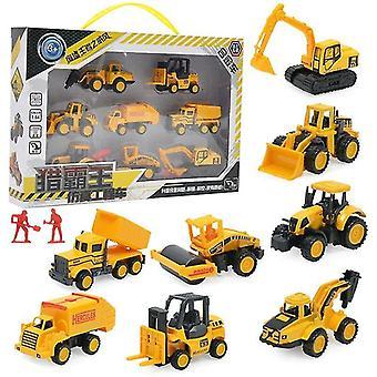 8db/készlet Mini alloy építőipari teherautó modell játék