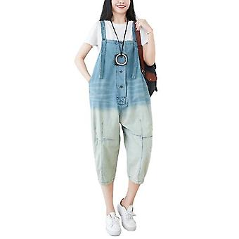 Cropped Gradient Color Large Size Loose Overalls