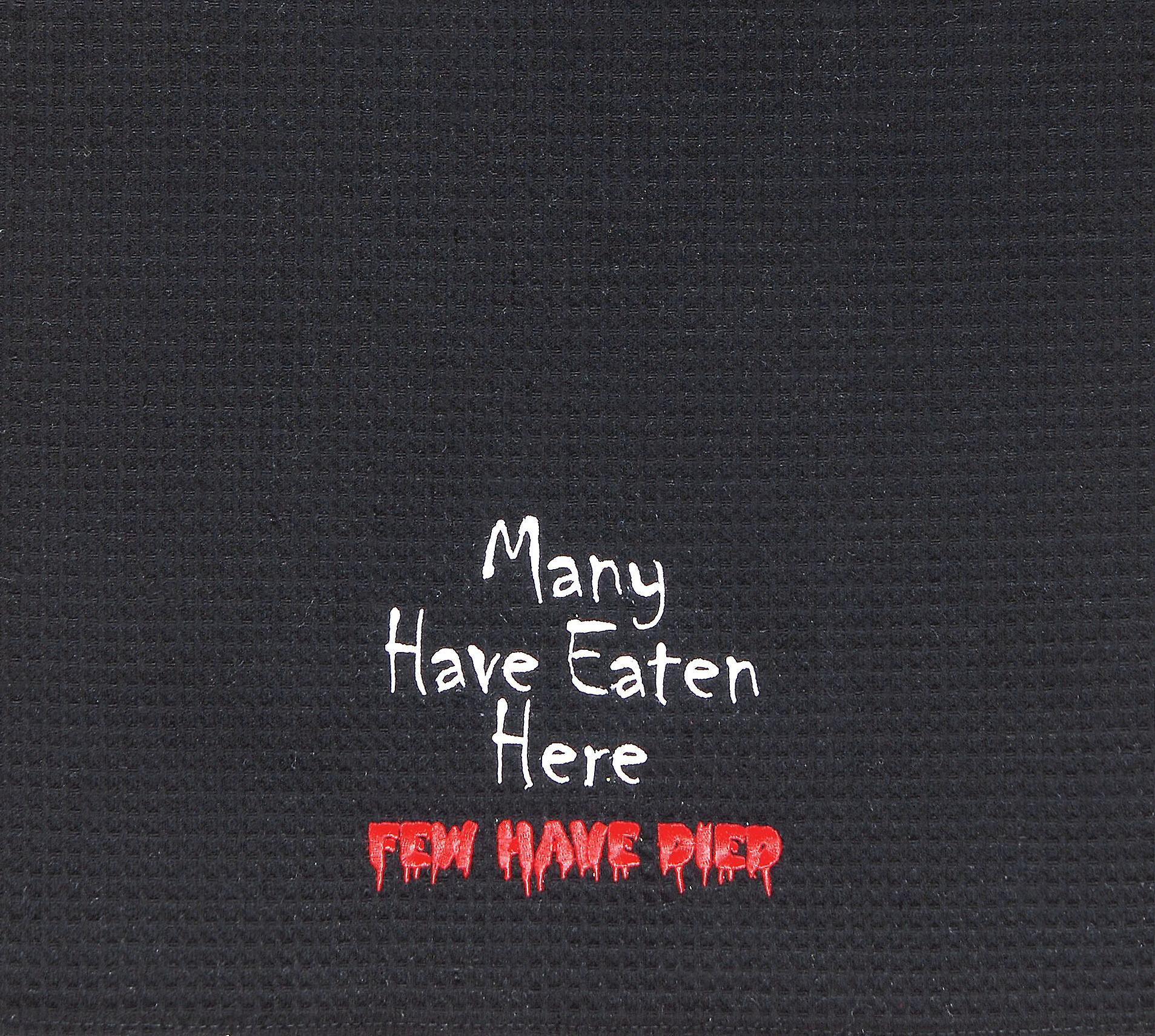Many Have Eaten Here Few Have Died Funny Halloween Black Waffle Weave Towel