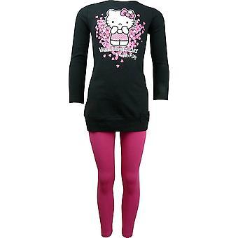 Dziewczyn Hello Kitty długi rękaw Top tunika idealna legginsy zestaw HO1149