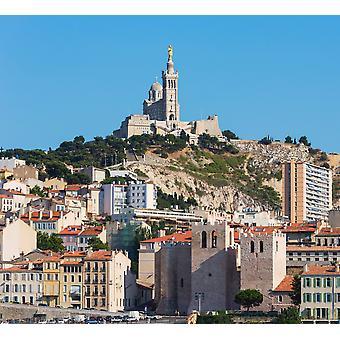 Marseille Provence-Alpes-Cote dAzur Frankrijk de 19e cenury Neo-Byzantijnse basiliek van Notre-Dame de la Garde Poster Print by Panoramic Images (36 x 32)