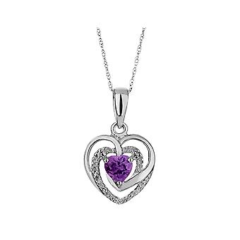 Amethyst Heart Pendant Necklace with Diamonds 1/3 Carat (ctw) in Sterling Silver with Chain