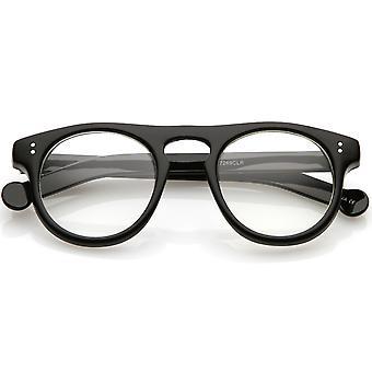 Klassieke hoorn omrande oog glazen Keyhole Nose Bridge ronde duidelijk Lens 47mm