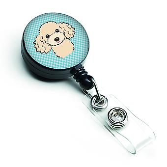 Carolines Treasures  BB1196BR Checkerboard Blue Poodle Retractable Badge Reel