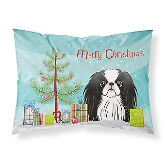 Christmas Tree and Japanese Chin Fabric Standard Pillowcase