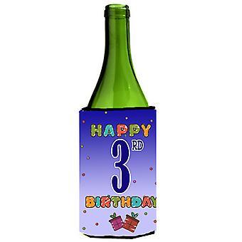 Happy 3: e födelsedag vin flaska dryck isolator Hugger