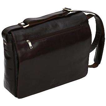 "Luxury Genuine Leather 16"" Laptop Case Flapover Cross Body Shoulder Messenger Bag Satchel"