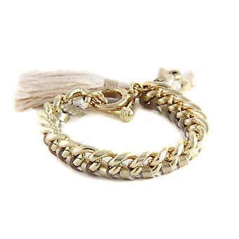 Ettika - Yellow Gold Bracelet and Golden Braided Leather Ribbons 3718