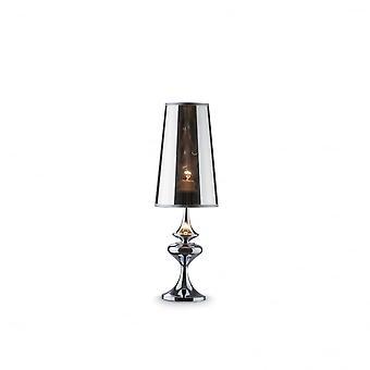 Ideal Lux Alfiere pequeño ahumado acabado lámpara de mesa con pantalla de plástico