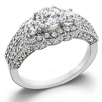 1 3/4ct Round Three Stone Pave Diamond Engagement Ring 14k White Gold