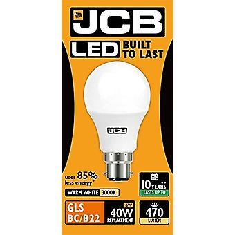 1 X JCB  6w = 40w LED GLS Opal BC/B22 3000k Warm White 6w 40W [Energy Class A+]