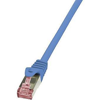 LogiLink CQ2016S RJ45 Network cable, patch cable CAT 6 S/FTP 25.00 cm Blue Flame-retardant, incl. detent 1 pc(s)