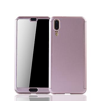 Huawei P20 Phone Case Protection Case Full Cover Tank Protection Glass Rose