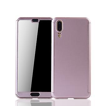 Huawei P20 teléfono caso de protección de la funda completa cubierta tanque protección vidrio rosa