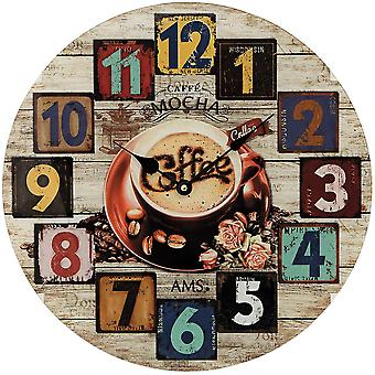 Wall clock wall clock coffee quartz mineral glass printed with wood-look