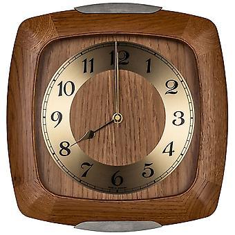 AMS 5804/4 wall clock radio radio controlled wall clock analog wood solid oak