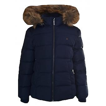 Tommy Hilfiger flickor marinblå Faux päls Trim Hooded Jacket