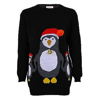 Ladies Christmas XMAS festlig 3D Bell lue kvinners strikket Penguin Jumper