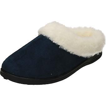 Cushion-Walk Navy Slipper Mule Plush Warm Clogs