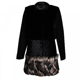Frank Lyman Long Sleeve Faux Fur Panelled Coat