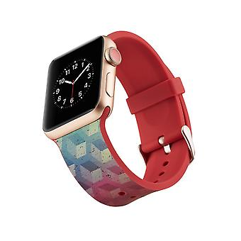 Silikon-Uhrenarmband für Apple Watch 4 44mm, 3/2/1 42mm-Cube