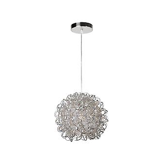 Lucide Noon Modern Round Aluminum Satin Chrome Pendant Light