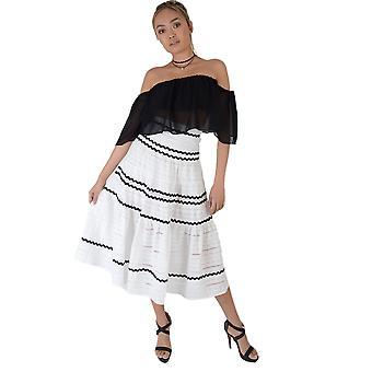Lovemystyle vit bomull Full Midi kjol med svarta ränder