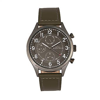 Elevon Lindbergh Leather-Band Watch w/Day/Date -Olive/Grey
