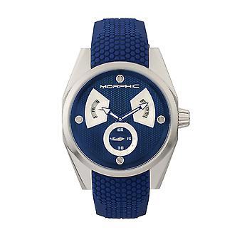 MORPHIC M34 serie Men's Watch w / Day/Date-zilver/blauw