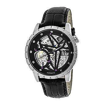 Reign Xavier Automatic Skeleton Leather-Band Watch - Silver/Black
