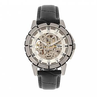 Reign Philippe Automatic Skeleton Leather-Band Watch - Black/White